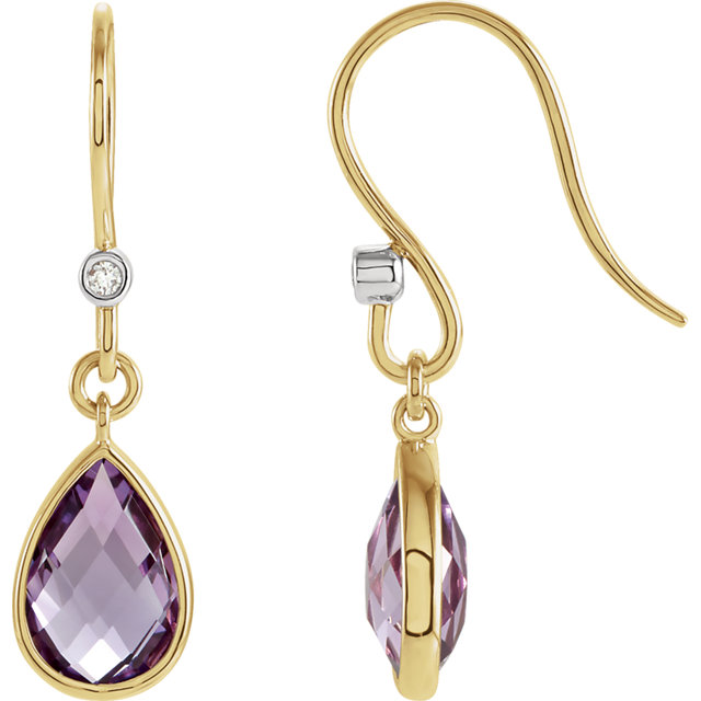 Stunning Amethyst & Diamond Earrings