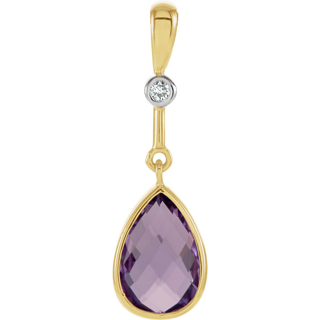 Appealing Jewelry in 14 Karat Yellow Gold Amethyst & .015 Diamond Pendant