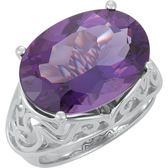 Exquisite Oval Genuine Amethyst Openwork Ring