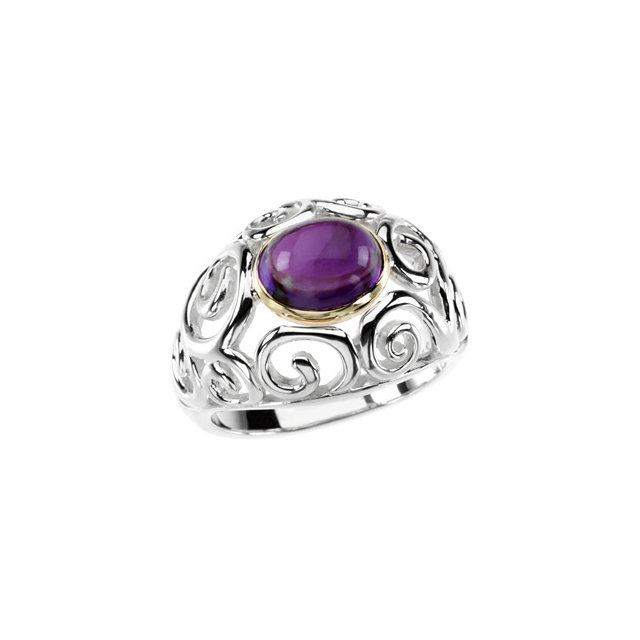 Great Deal in Sterling Silver & 14 Karat Yellow Gold Amethyst Scroll Design Ring