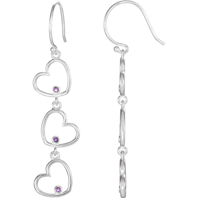Fine Quality Amethyst Triple Heart Dangle Earrings