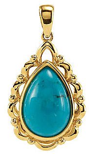 An Updated Classic! - Beautiful Genuine Pear Shape 12x8mm Turquoise Gemstone Pendant in 14k Yellow Gold for SALE - FREE Chain With Pendant - SOLD
