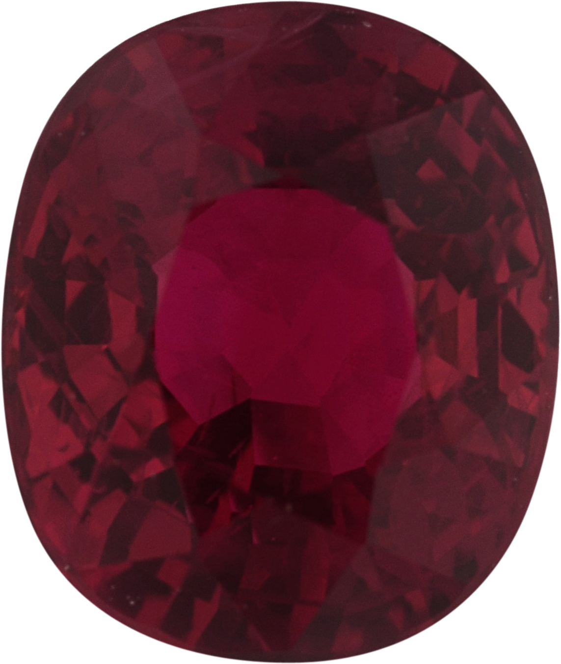 7.03 x 5.93 mm, Antique Cushion Cut Genuine Ruby Gem, Strong Red, 1.53 carats