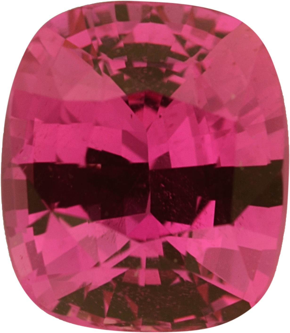 1.38 carats Antique Cushion Cut Genuine Pink Sapphire Gem, Purple Red, 6.95 x 6.02 mm