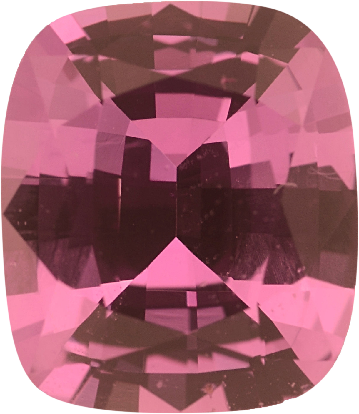 7.21 x 6.26 mm, Unheated Pink Loose Sapphire Gemstone in Antique Cushion Cut, Purplish Red, 1.44 carats