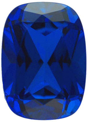 Loose Genuine Gem Antique Cushion Shape Chatham Blue Sapphire High Quality Gemstone Grade GEM 6.14 carats,  11.00 x 9.00 mm in Size