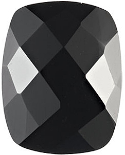 Faceted  Antique Cushion Shape Checkerboard Black Onyx Gemstone Grade AAA  Sized 8.00 x 6.00 mm