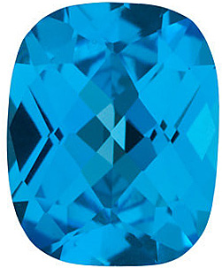 Best Cut Standard Size Loose Antique Cushion Shape Swiss Blue Topaz Gem Grade AAA, 10.00 x 8.00 mm in Size, 3.45 Carats