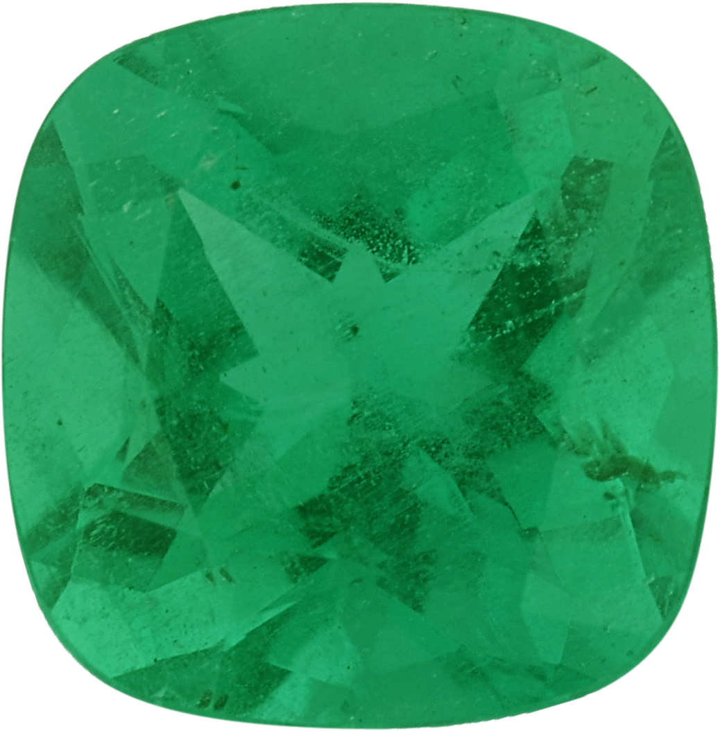 0.62 carats Antique Square Cut Genuine Emerald Gem, Bluish Green, 5.55 x 5.47 mm