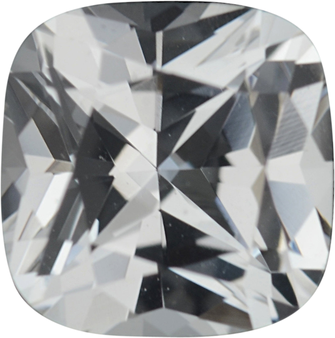 5.51 x 5.48 mm, White Loose Sapphire Gemstone in Antique Square Cut, Near Colorless, 0.93 carats