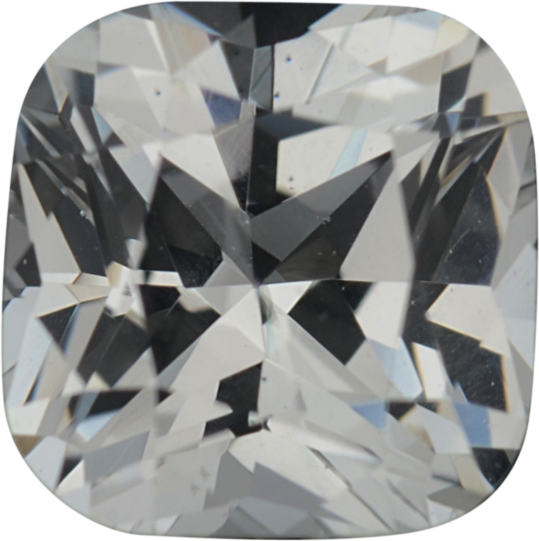 5.5 x 5.46 mm, White Loose Sapphire Gemstone in Antique Square Cut, Near Colorless, 0.97 carats