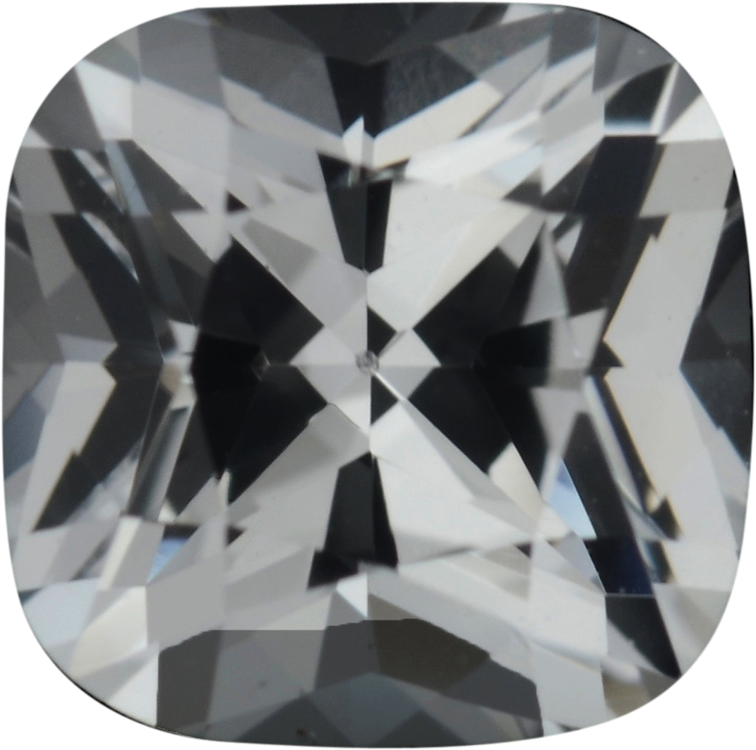 5.56 x 5.53 mm, White Loose Sapphire Gemstone in Antique Square Cut, Near Colorless, 1.01 carats