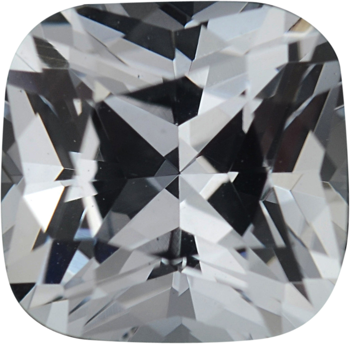 0.95 carats Antique Square Cut Genuine White Sapphire Gem, Near Colorless, Hint of Blue, 5.51 x 5.44 mm