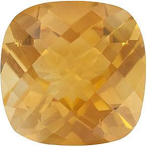 Gemstone Antique Square Shape Checkerboard Citrine Gemstone Grade AA, 8.00 mm in Size, 1.95 carats