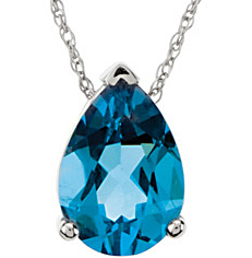Appealing 2.35ct 10x7mm Pear Shape Swiss Blue Topaz Pendant set in 14 karat White Gold - Free Chain