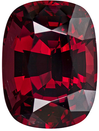 Appealing Rhodolite Loose Gem in Cushion Cut, Pure Rich Red, 13.9 x 10.4 mm, 10.46 carats