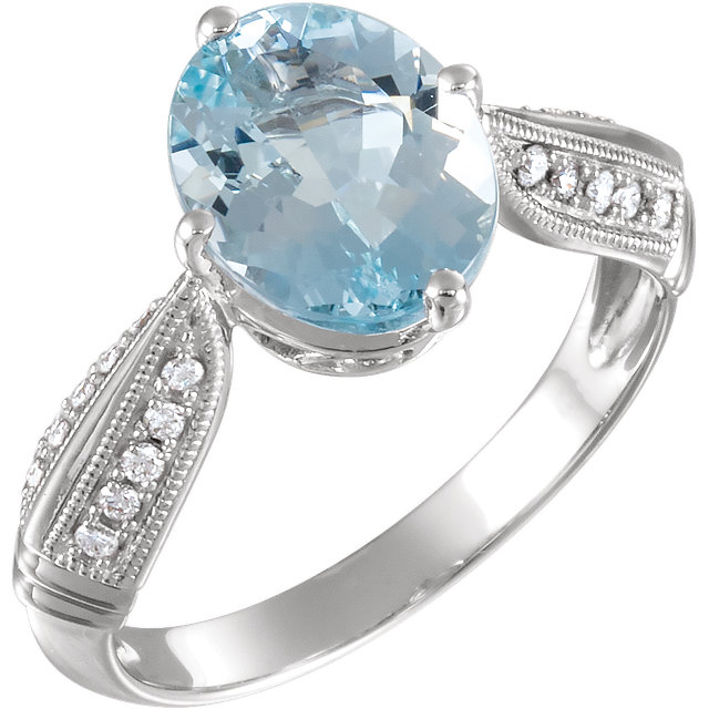 Great Buy in 14 Karat White Gold Aquamarine & 0.12 Carat Total Weight Diamond Ring
