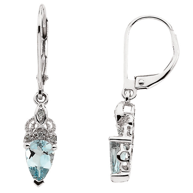 Great Buy in 14 Karat White Gold Aquamarine & Diamond Earrings