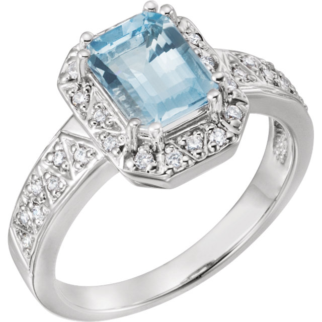 Great Deal in Aquamarine & Diamond Halo-Style Ring