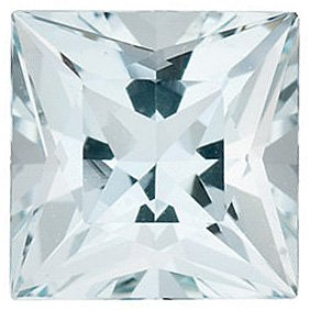 Faceted Aquamarine Stone, Princess Shape, Grade B, 2.50 mm in Size, 0.08 carats