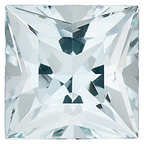 Faceted High Quality Blue Aquamarine Gem in Princess Shape Gemstone Grade A, 4.50 mm in Size, 0.44 carats