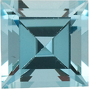 Faceted Aquamarine Stone, Step Shape, Grade AA, 5.00 mm in Size, 0.6 carats