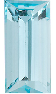 Faceted   High Quality Faceted Aquamarine Gem in Baguette Shape Grade A, 6.00 x 3.00 mm in Size, 0.37 carats