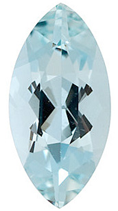 Faceted  Aquamarine Gem in Marquise Shape Grade A, 9.00 x 4.50 mm in Size, 0.7 carats