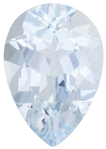 Loose Aquamarine Gemstone in Pear Shape Grade A, 10.00 x 7.00 mm in Size, 1.95 carats