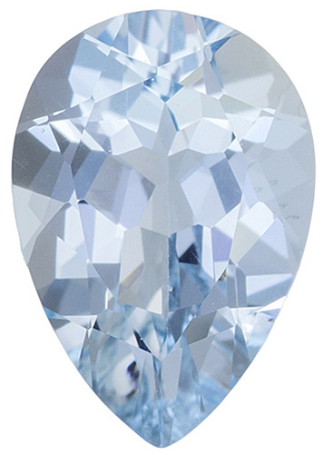 Faceted Natural Loose Aquamarine Gem in Pear Shape Grade AA, 7.00 x 5.00 mm in Size, 0.6 carats