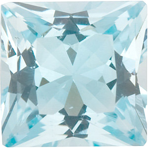 Faceted Aquamarine Gemstone, Princess Shape, Grade A, 2.50 mm in Size, 0.08 carats