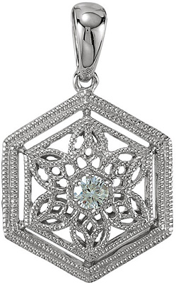 Arresting Hexagon Frame .05ct 2.30 mm Diamond Filigree Pendant in 14k White Gold for SALE