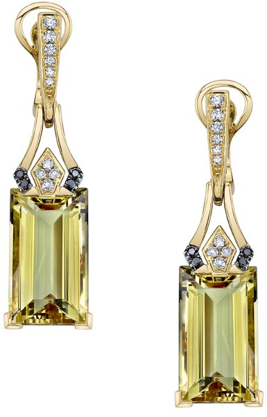 Art Deco 16.13ctw Emerald Cut Yellow Beryl Dangle Earrings in 18kt Yellow Gold - White & Black Diamond Accents