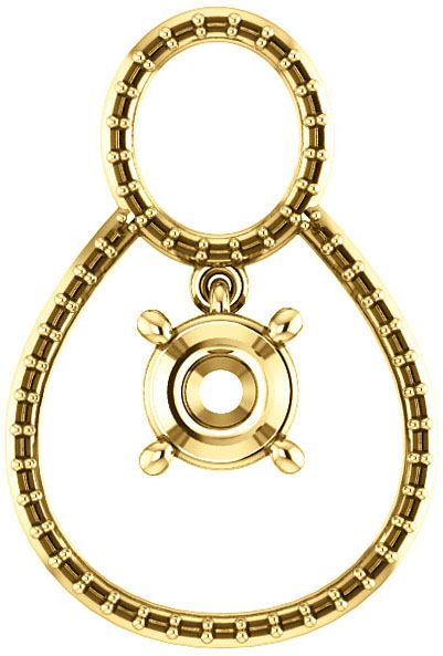 Articulated Dangle Accented Pendant Mounting for Round Centergem Sized 4.10 mm to 15.00 mm - Customize Metal, Accents or Gem Type