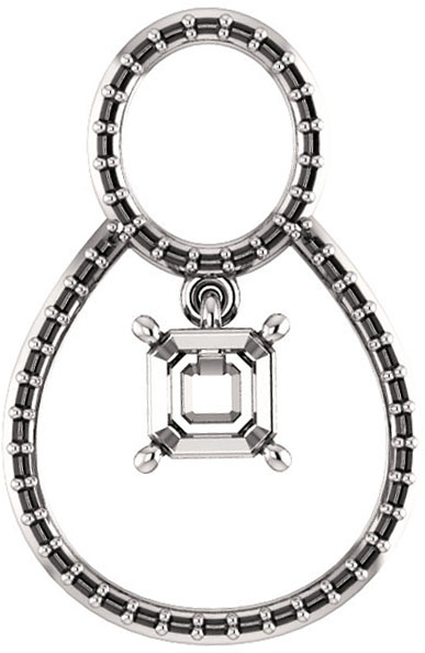 Articulated Dangle Accented Soiltaire Pendant Mounting for Asscher Gemstone Size 5mm to 10mm