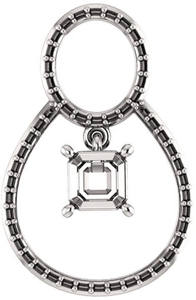 Articulated Dangle Accented Soiltaire Pendant Mounting for Asscher Centergem Sized 5.00 mm to 10.00 mm - Customize Metal, Accents or Gem Type