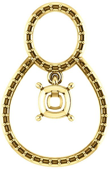 Articulated Dangle Accented Soiltaire Pendant Mounting for Cushion Centergem Sized 5.00 mm to 15.00 mm - Customize Metal, Accents or Gem Type