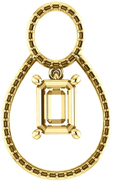 Articulated Dangle Accented Soiltaire Pendant Mounting for Emerald Centergem Sized 5.00 x 3.00 mm to 16.00 x 12.00 mm - Customize Metal, Accents or Gem Type