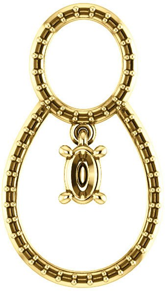 Articulated Dangle Accented Soiltaire Pendant Mounting for Oval Centergem Sized 5.00 x 3.00 mm to 16.00 x 12.00 mm - Customize Metal, Accents or Gem Type