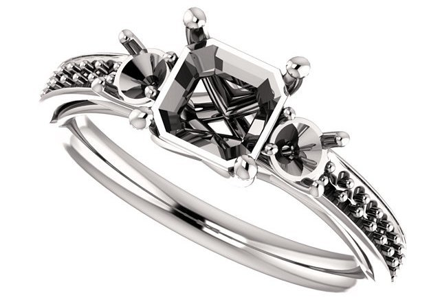 Asscher 3-Stone Engagement Mounting for 5.00 mm to 7.00 mm Center Gem, 2 Round Sidegems - Customize Metal, Accents or Gem Type