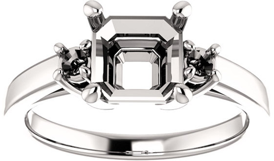 Asscher 3-Stone Ring Mounting for Shape Centergems Sized 5.00 mm to 7.00 mm, Round Side Gems - Customize Metal, Accents or Gem Type