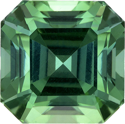 Asscher Cut  Tourmaline Loose Gem in Open Minty Green Color, 7.8 mm, 3.2 Carats