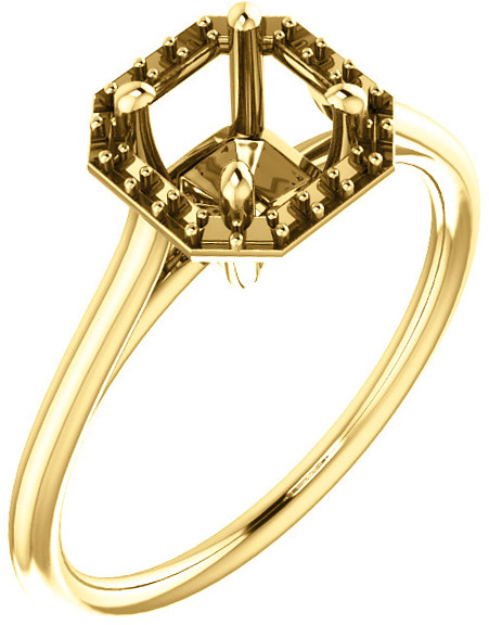 Asscher Halo Solitaire Engagement Ring Mounting for 5mm  7mm Center