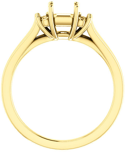 Asscher Ring Mounting With 4 Side Accents - Shape Centergems Sized 5.00 mm to 7.00 mm - Customize Metal, Accents or Gem Type