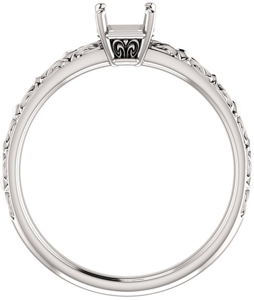 Asscher Sculptural Style Solitaire Ring Mounting for 5mm  10mm Center