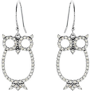 Astonishing 0.50 carat total weight 1.00 mm Diamond Owl Earrings expertly set in 14 karat White Gold for SALE