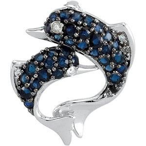Astonishing .03ct 1mm Sapphire & Diamond Dolphin Pendant expertly set in 14 karat White Gold for SALE - FREE Chain Included