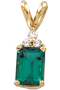 Astonishing .45ct Chatham Created GEM Grade 6x4mm Emerald & Round Diamond Pendant expertly set in 14 karat Yellow Gold for SALE
