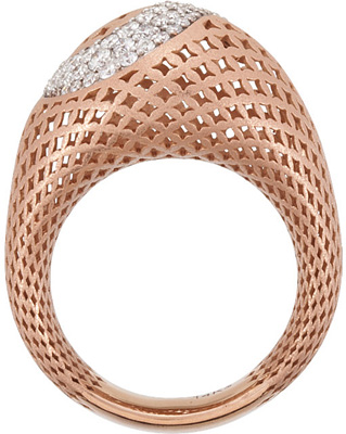 Attractive 1/2ct Large Pierced Style 14k Gold Ring With a Curved Path of .8-2mm Pave Diamond Accents
