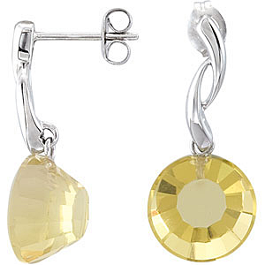 Attractive 11.84ct 12mm Round Lime Quartz Post Earrings expertly set in Sterling Silver for SALE